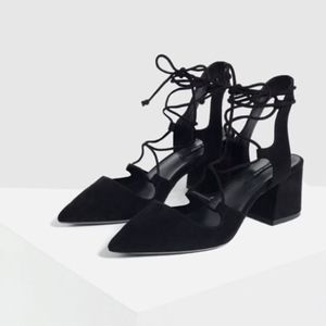 Zara Lace-Up Pointed High Heel Shoes